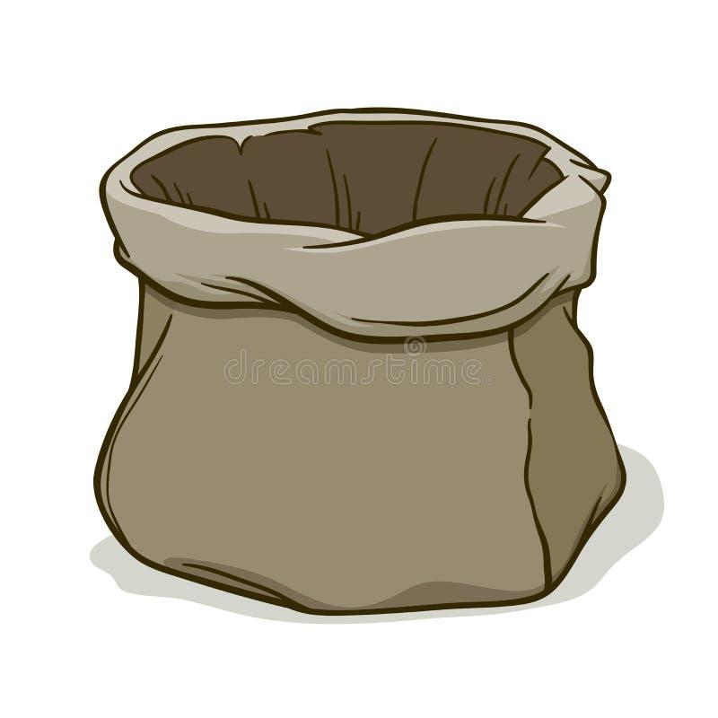 Dibujo de la mano de un movimiento vacío del cepillo del saco de la lona libre illustration