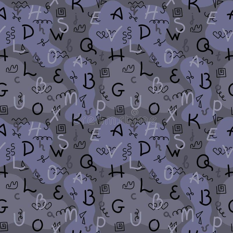 Dibujo de la mano del garabato Modelo incons?til Letras de diversos colores, puntos abstractos, camuflaje Ilustraci?n del vector stock de ilustración