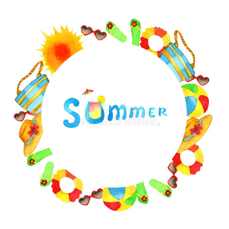 Dibujo de la mano del marco del verano ilustración del vector
