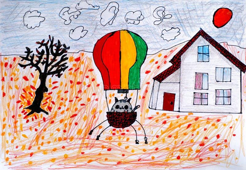 Dibujo de la mano del niño Gato en un globo del aire caliente listo para volar en aut ilustración del vector