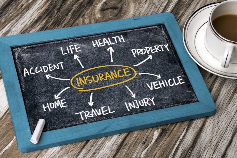 Dibujo de la mano del organigrama del seguro en la pizarra fotografía de archivo libre de regalías