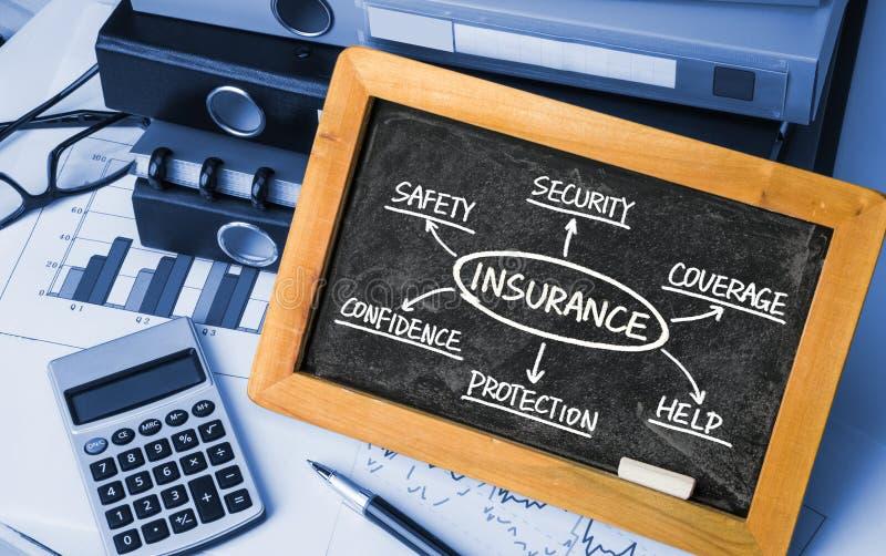 Dibujo de la mano del organigrama del seguro en la pizarra imagen de archivo