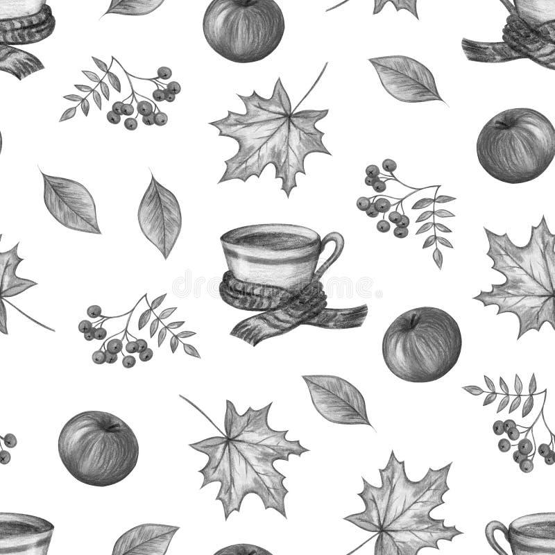 Dibujo de la mano del otoño stock de ilustración