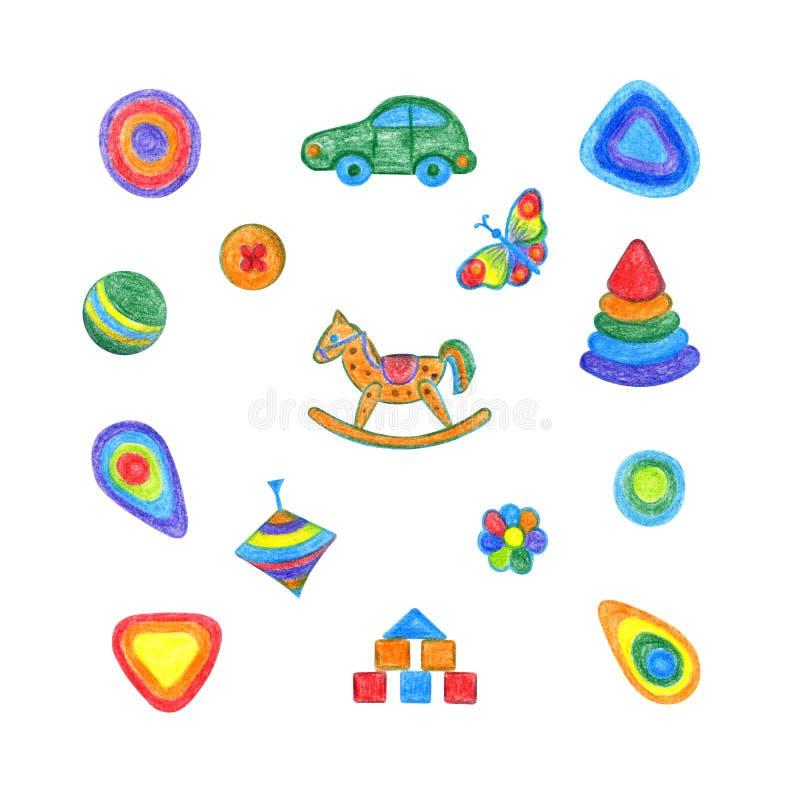 Dibujo de la mano del sistema de los juguetes de los niños stock de ilustración