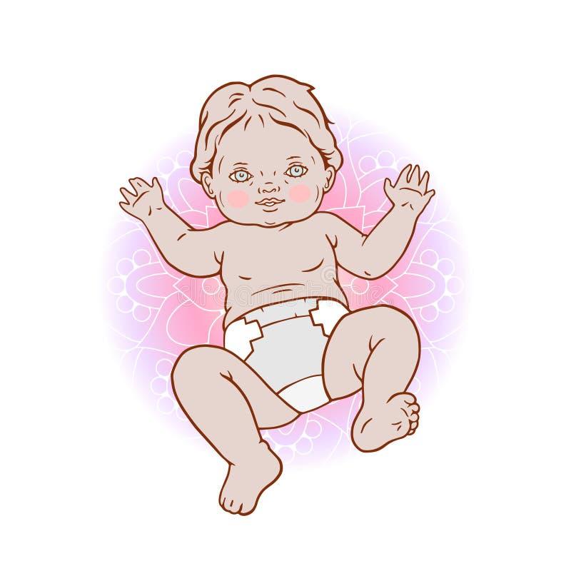 Dibujo de la mano del vector del bebé Ejemplo aislado del niño ilustración del vector