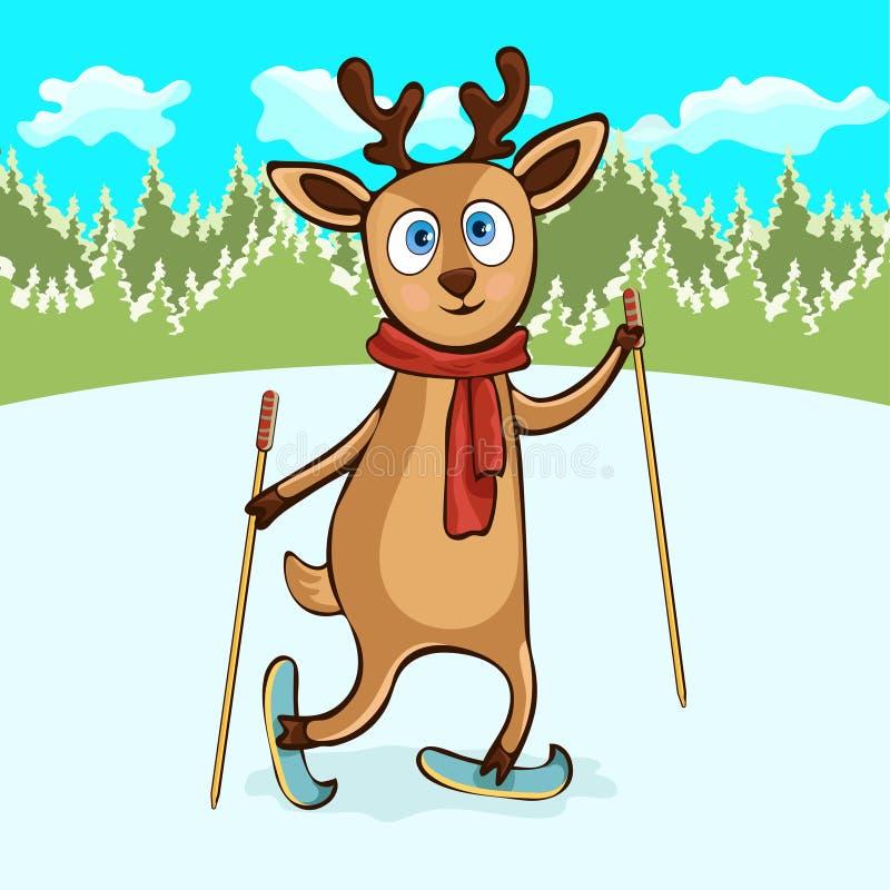 Dibujo de la mano de los ciervos, personaje de dibujos animados, ejemplo del vector, caricatura, tarjeta Cervatillo divertido lin ilustración del vector
