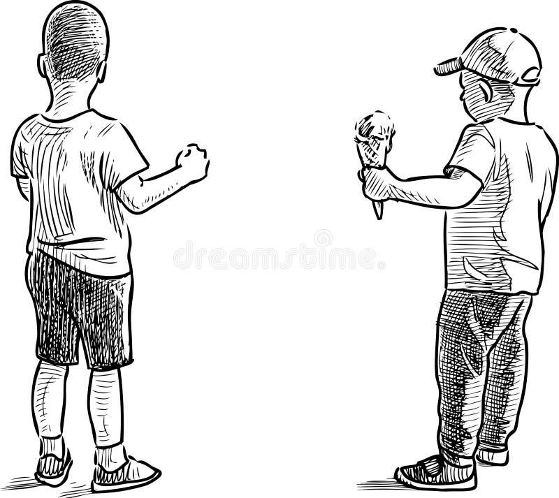 Dibujo de la mano de los niños pequeños con un helado stock de ilustración