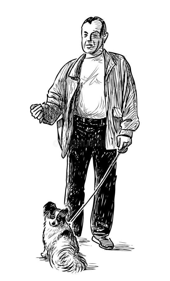 Dibujo de la mano de un ciudadano casual que da un paseo con su animal dom?stico ilustración del vector