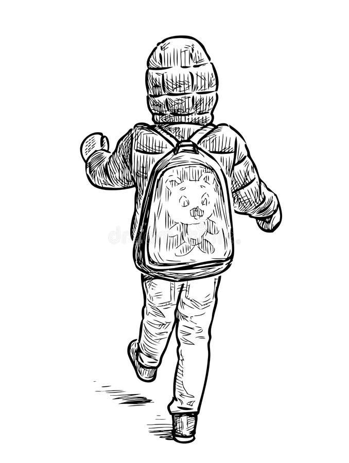 Dibujo de la mano de un niño que anda a trancos para un paseo libre illustration