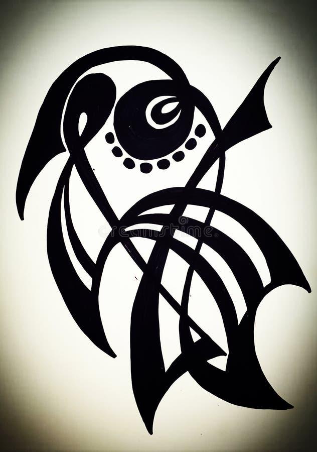 Dibujo de la mano de un pájaro imagenes de archivo