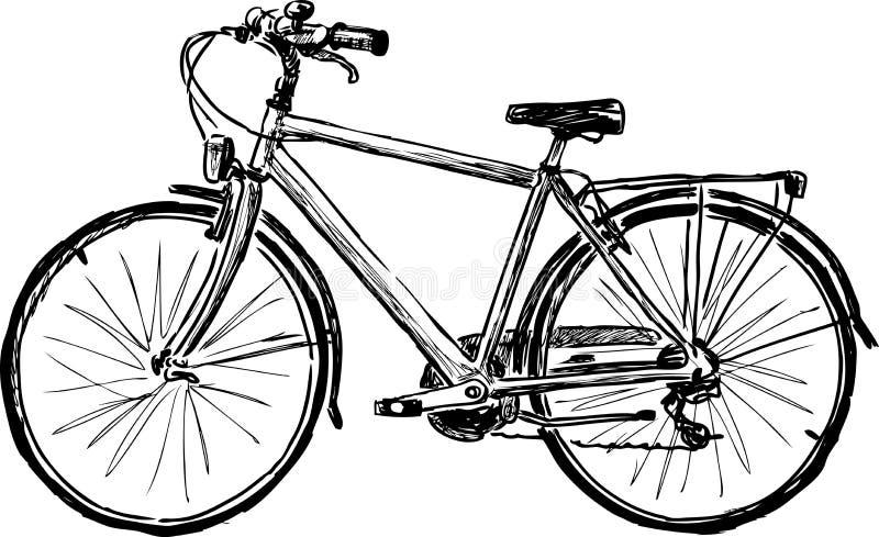 Dibujo de la mano de una bicicleta de la ciudad libre illustration