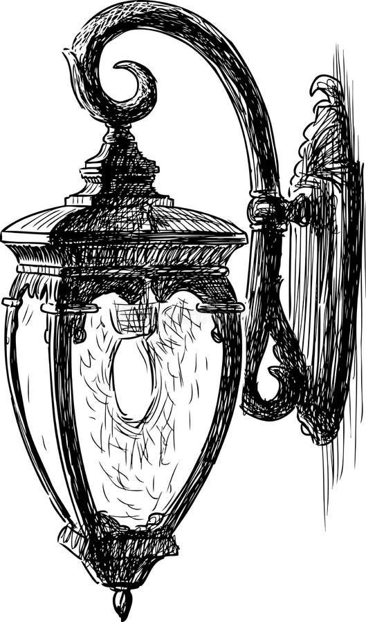 Dibujo de la mano de una luz de calle del vintage stock de ilustración