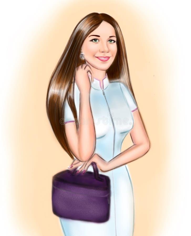 Dibujo de la muchacha del artista de maquillaje ilustración del vector