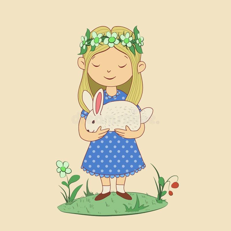 Dibujo de la muchacha linda con el conejo en sus manos Pascua feliz Ejemplo divertido del vector del carácter en fondo beige stock de ilustración