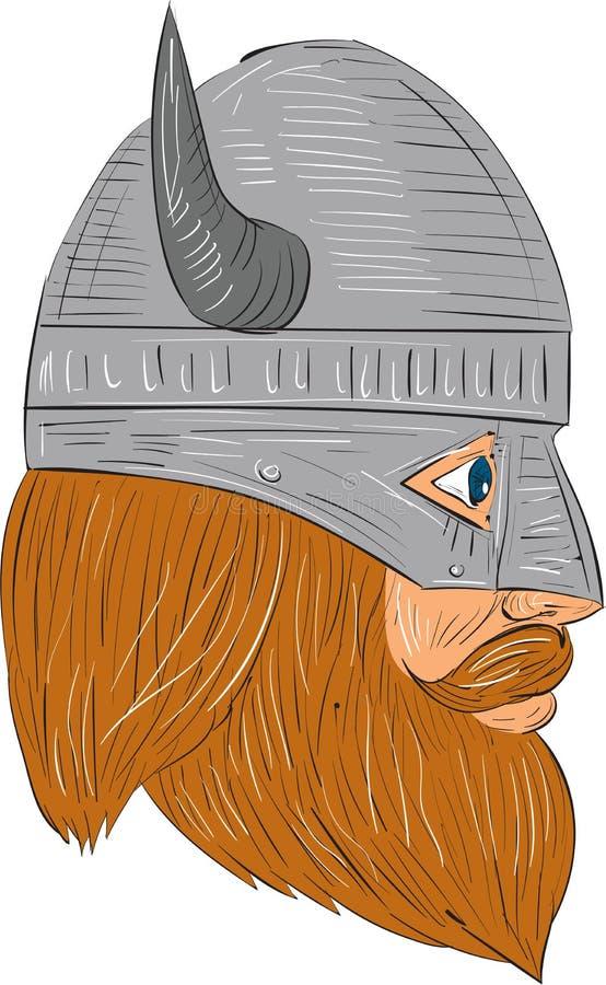 Dibujo de la opinión de Viking Warrior Head Right Side ilustración del vector