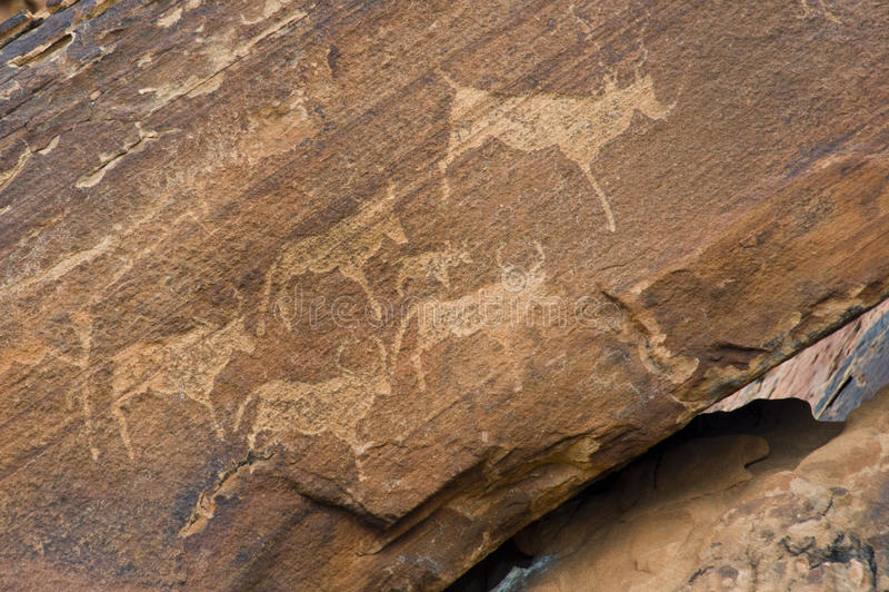 Dibujo de la roca en Twyfelfontein, Namibia fotografía de archivo libre de regalías