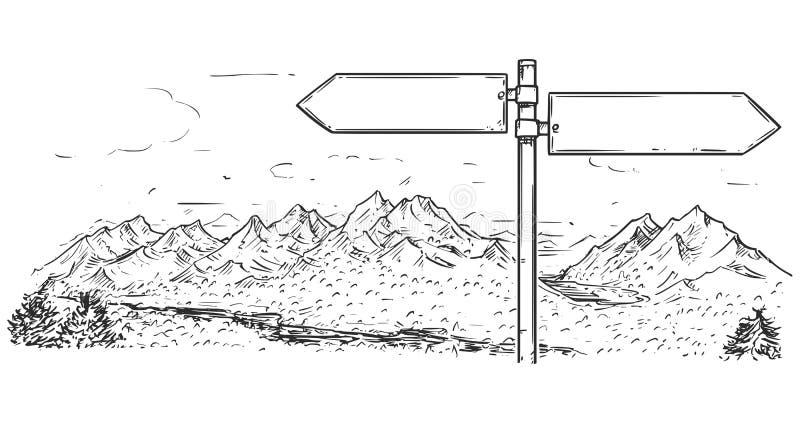 Dibujo de la señal de tráfico en blanco vacía del tráfico en fondo de la montaña stock de ilustración