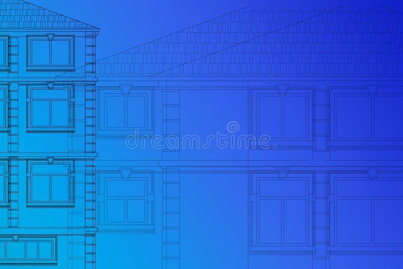 Dibujo de las fachadas de las casas en un fondo azul fotos de archivo