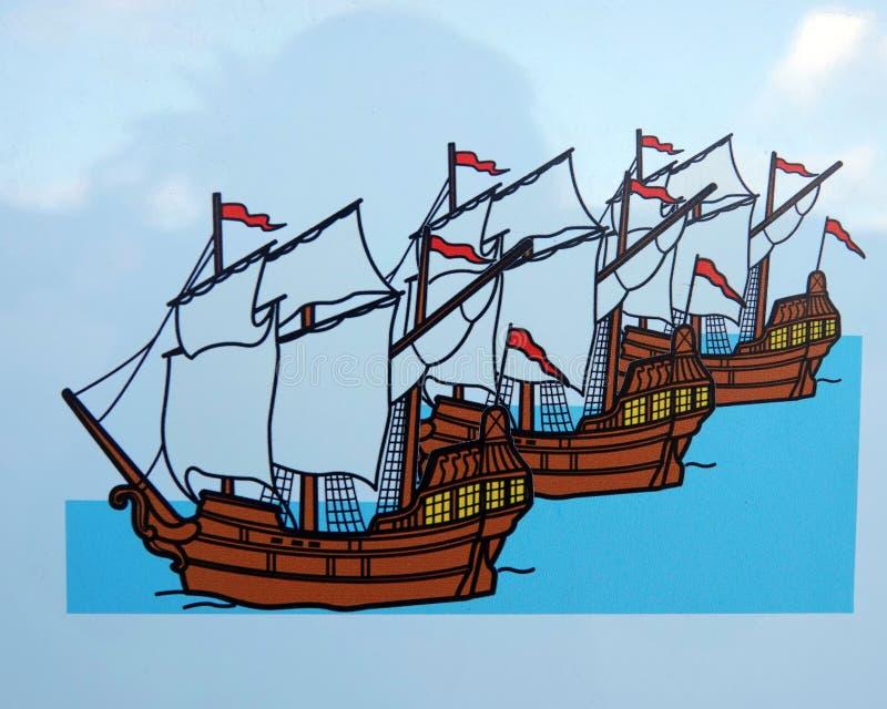 Dibujo de las naves de Columbus en el muelle de carabelas en Huelva, España imágenes de archivo libres de regalías