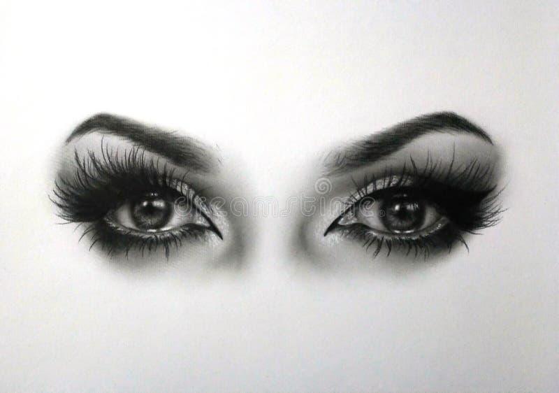 Dibujo de los ojos stock de ilustración