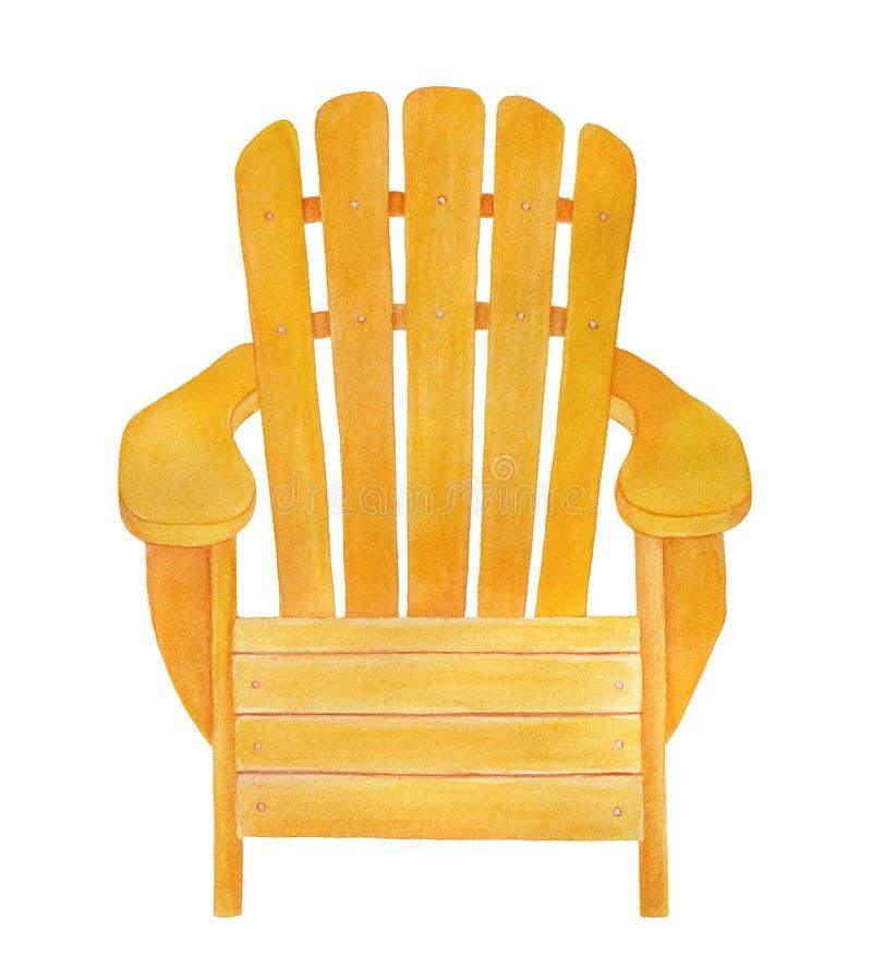 Dibujo de madera amarillo de la silla del adirondack stock de ilustración