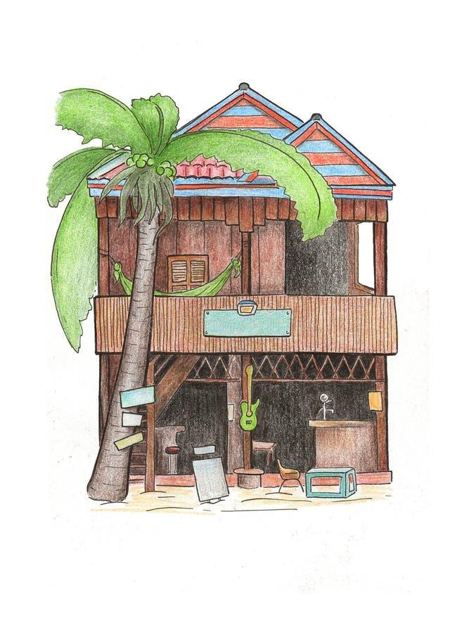 Dibujo de madera de la casa y de la palmera Bosquejo del viaje de Camboya Postal colorida de la isla tropical de Koh Rong stock de ilustración
