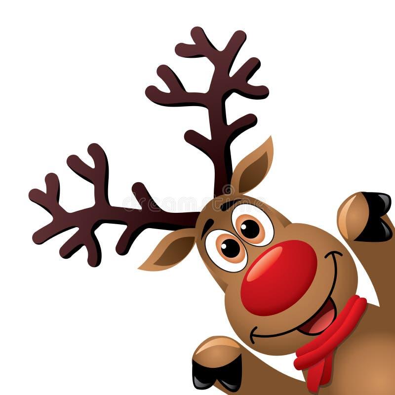 Dibujo de Navidad del reno sospechado rojo divertido ilustración del vector