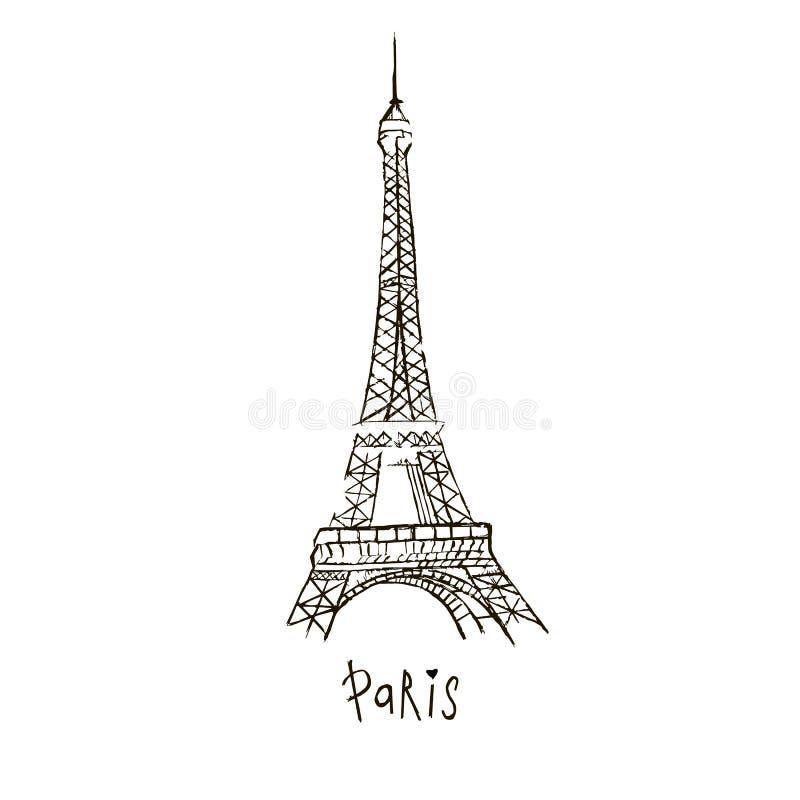 Dibujo de París del vector La torre Eiffel Doodle el estilo Imagen a mano en un fondo blanco ilustración del vector