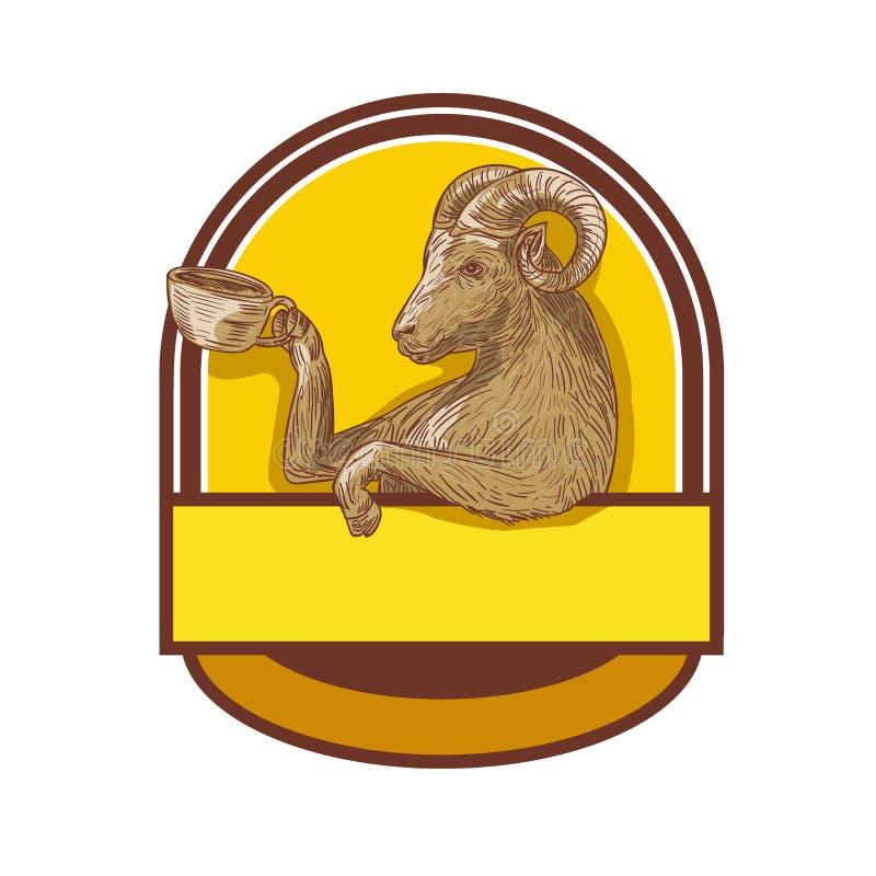 Dibujo de Ram Goat Drinking Coffee Crest ilustración del vector