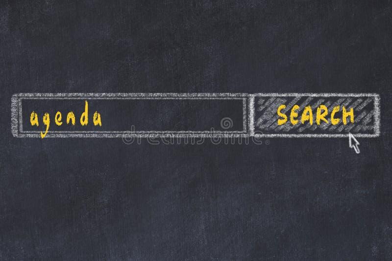 Dibujo de tablero de la ventana del navegador de búsqueda y la agenda de inscripción ilustración del vector