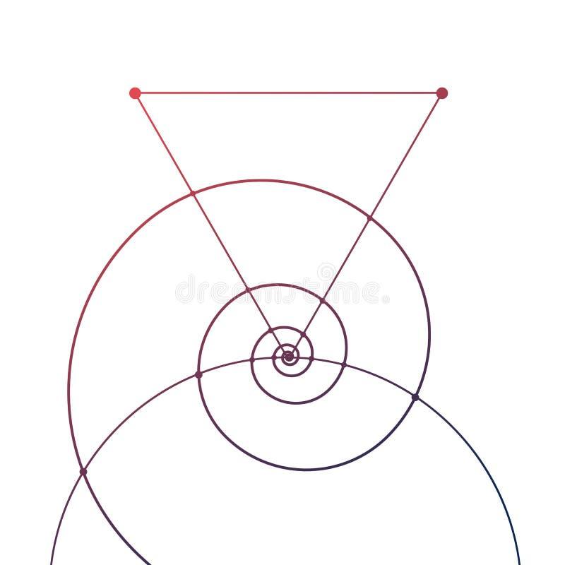 Dibujo de tatuajes de geometría sagrada con triángulos, espirales y partículas aisladas en blanco libre illustration