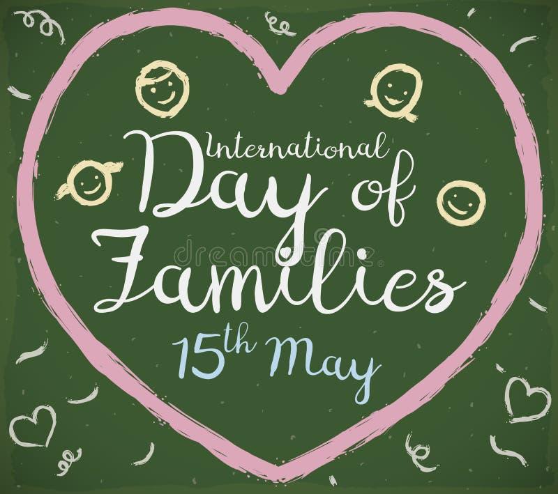 Dibujo de tiza lindo para el día internacional de celebración de familias, ejemplo del vector ilustración del vector