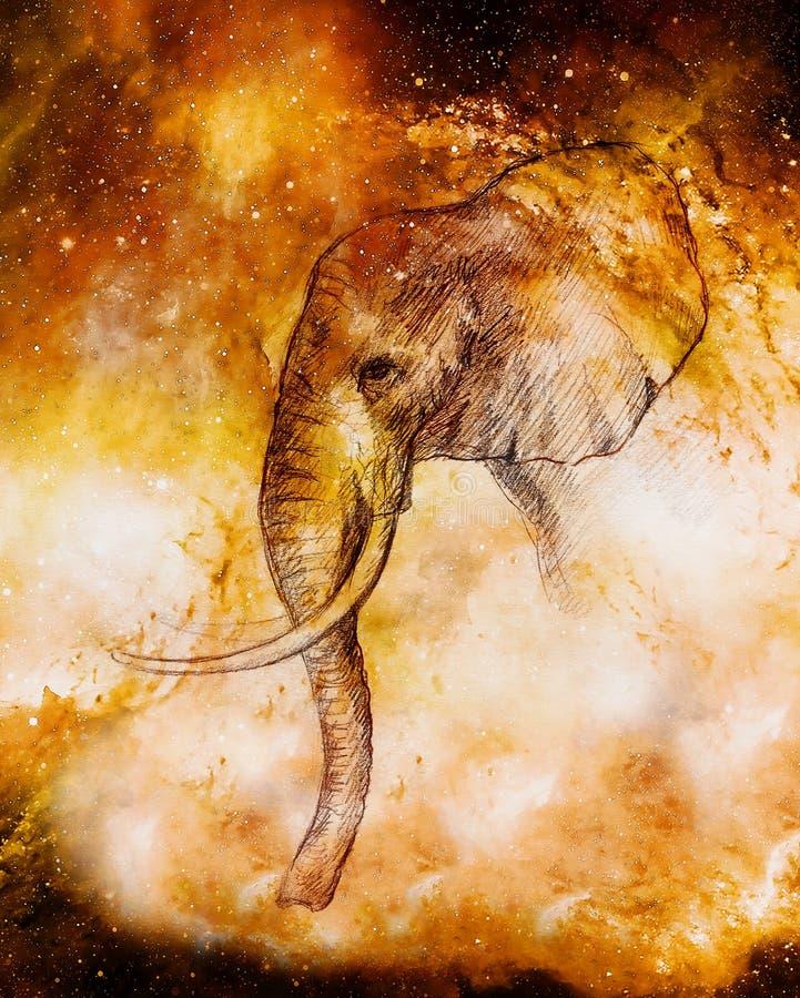 Dibujo de un elefante, dibujo del perfil en espacio cósmico ilustración del vector