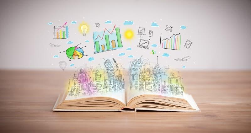 Dibujo de un esquema del negocio en un libro abierto imagenes de archivo
