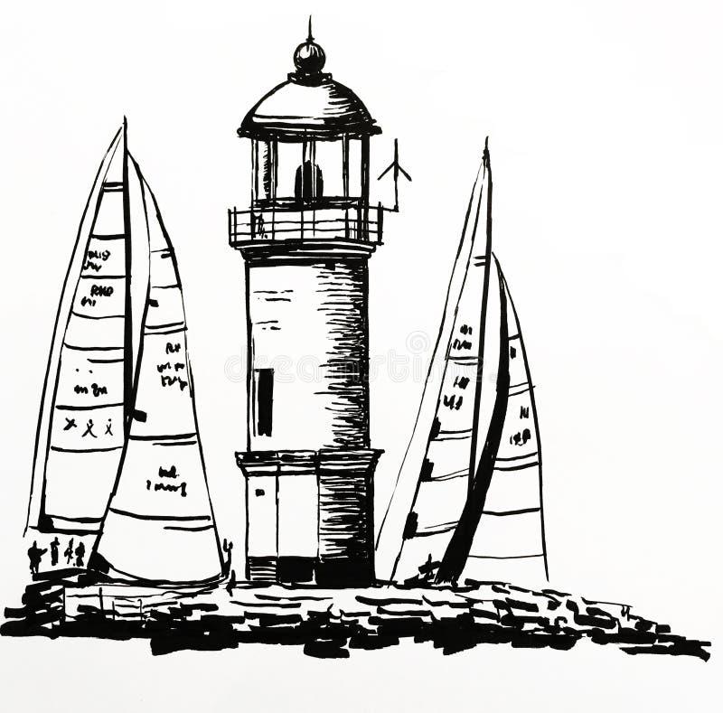 Dibujo de un faro de piedra hermoso en una isla, entre los yates amarrados durante una regata, ejemplo a mano del vector libre illustration