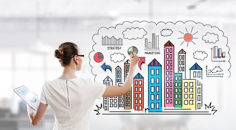 Dibujo de un plan empresarial Técnicas mixtas fotos de archivo