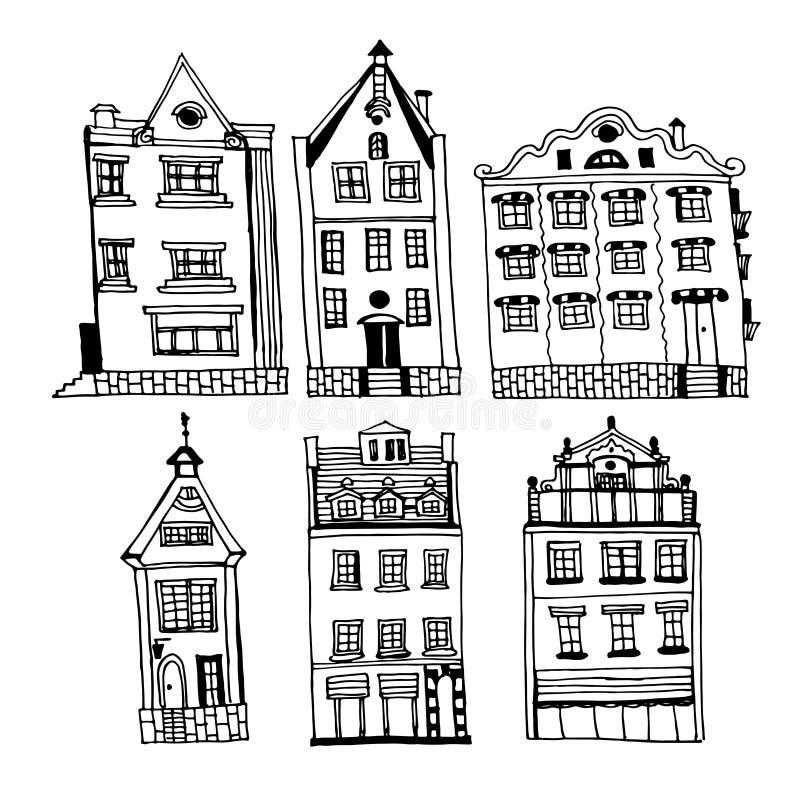 Dibujo de un sistema de casas del vintage de la ciudad vieja de Riga, ejemplo a mano de la tinta foto de archivo libre de regalías