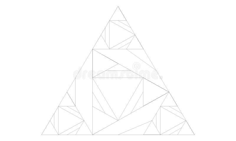 Dibujo de un triángulo hecho de triángulos más pequeños stock de ilustración