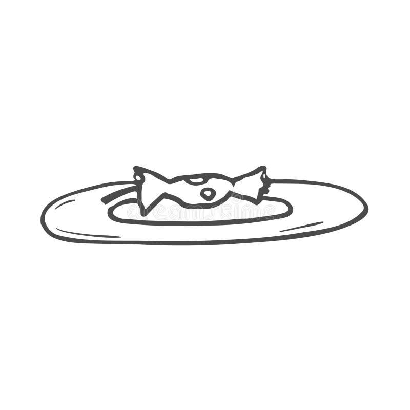 Dibujo de una base de la manzana en la placa doodle stock de ilustración