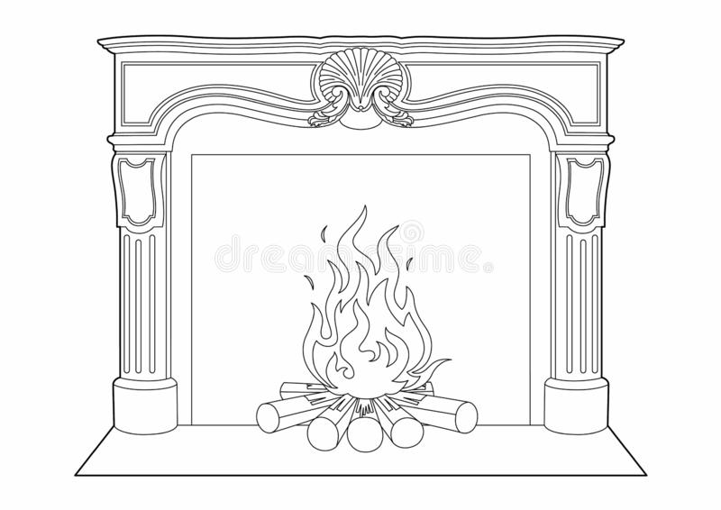 Dibujo de una chimenea vieja libre illustration