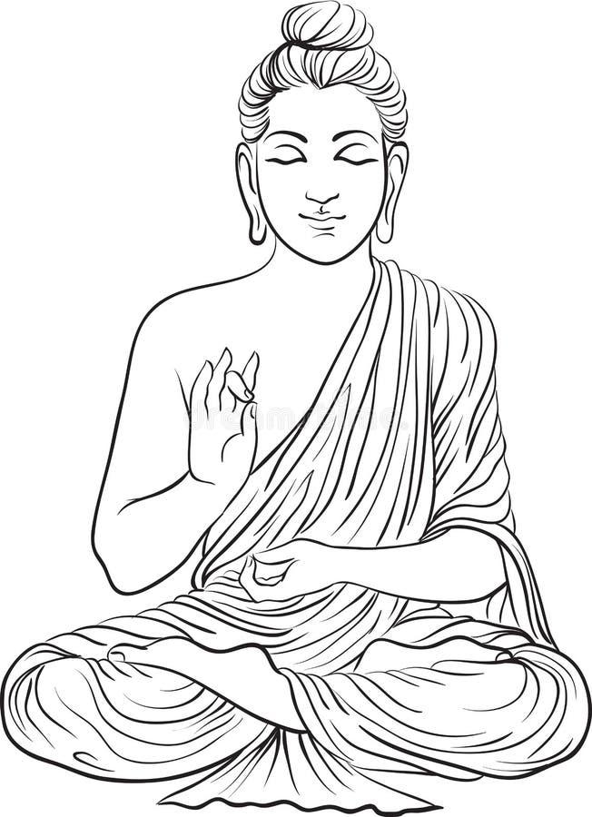 Dibujo de una estatua de Buda ilustración del vector
