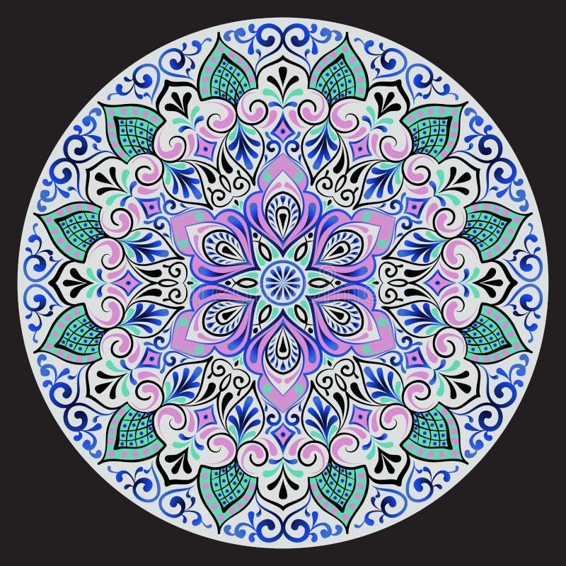 Dibujo de una mandala floral stock de ilustración