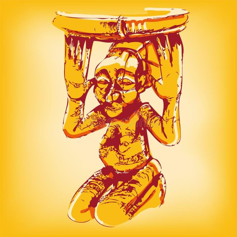 Dibujo de una muñeca de madera africana libre illustration