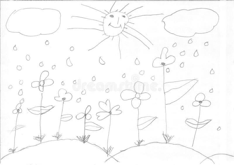 Dibujo de una muchacha del refugiado fotos de archivo