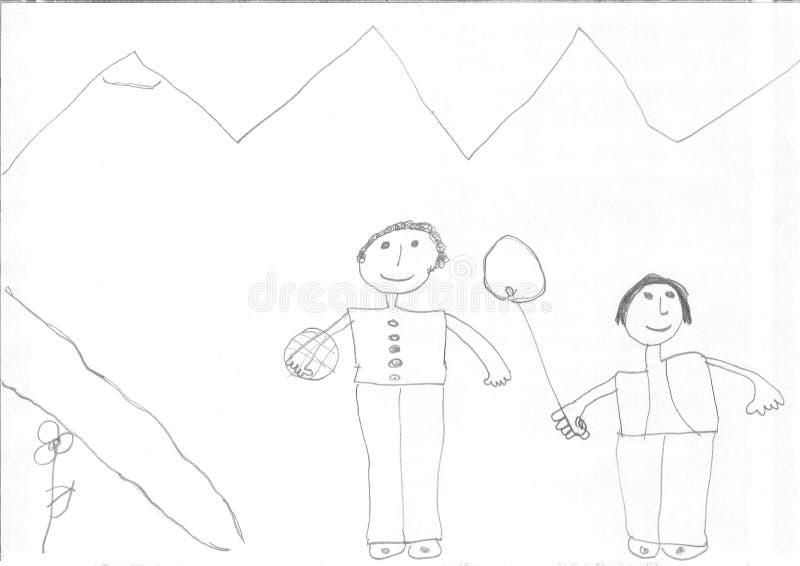 Dibujo de una muchacha del refugiado foto de archivo libre de regalías