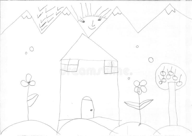 Dibujo de una muchacha del refugiado fotografía de archivo