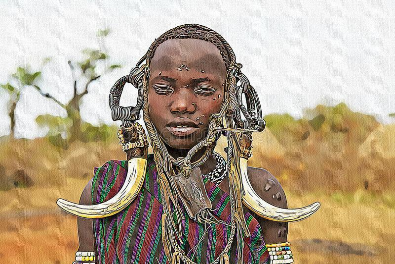 Dibujo de una mujer africana con los ornamentos ilustración del vector