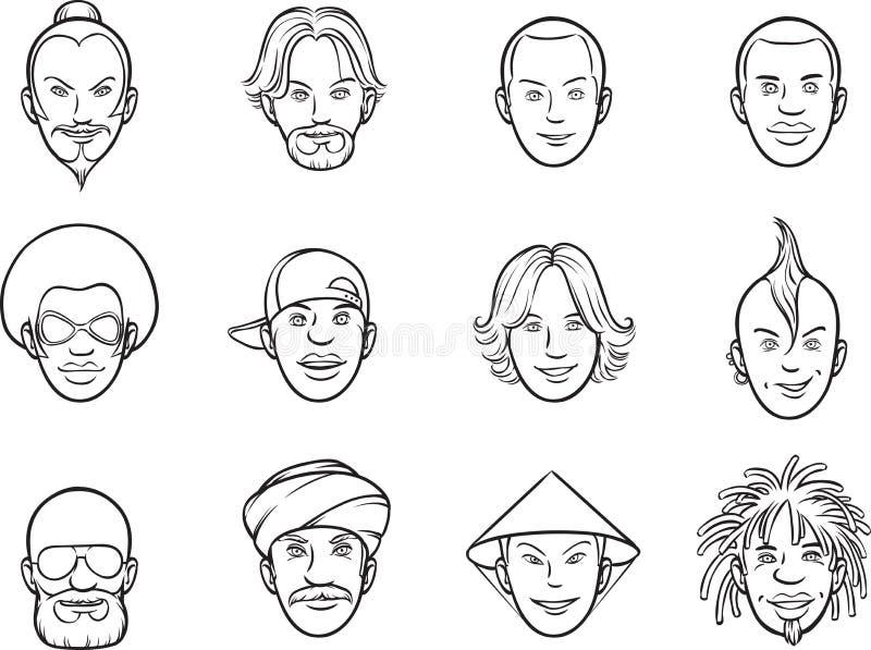 Dibujo de Whiteboard - caras del excéntrico del avatar de la historieta ilustración del vector