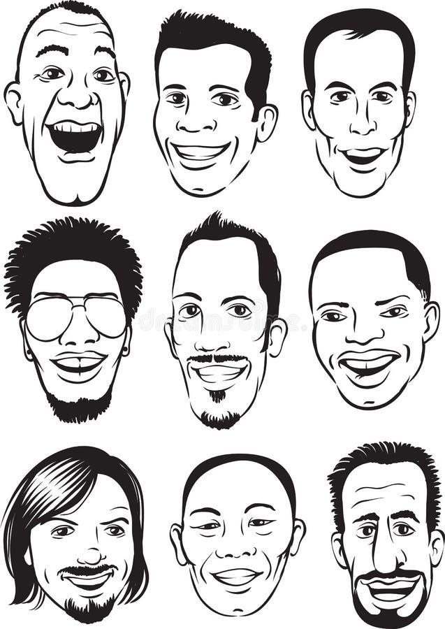 Dibujo De Whiteboard Caras Felices De Los Hombres Fijadas