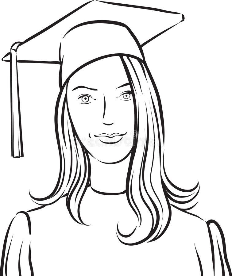 Dibujo Lineal De La Muchacha Graduada Ilustración Del Vector